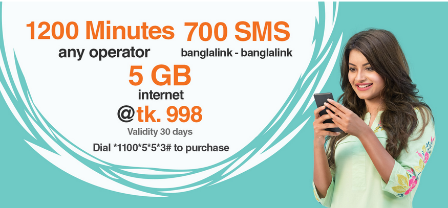 Banglalink 1200 Minutes 700 SMS 5GB Internet 998TK Bundle Pack Offer