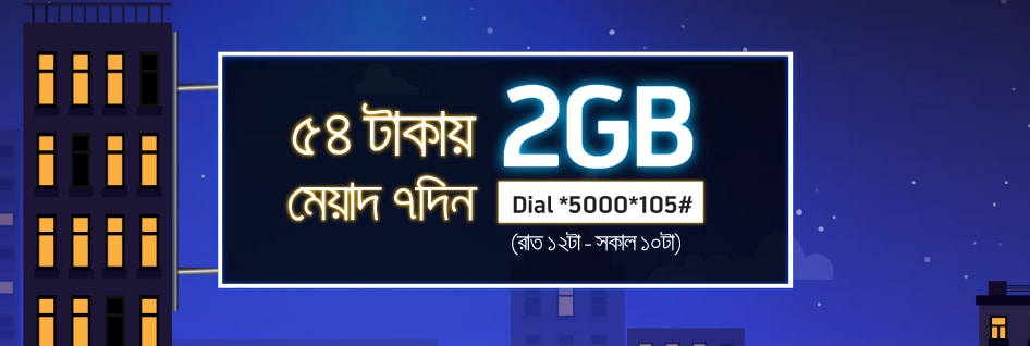 GP 2GB Night Pack Internet at 54 TK Validity 7 Days