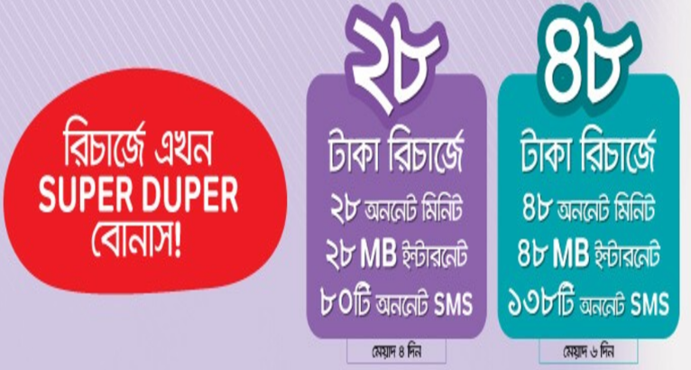 Airtel 28TK and 48TK Recharge Offer