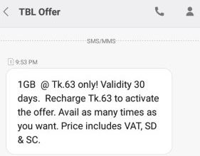 Teletalk 1GB Internet 63TK Offer