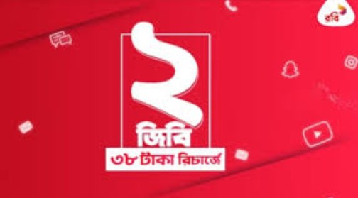 Robi 2GB Internet 38TK offer