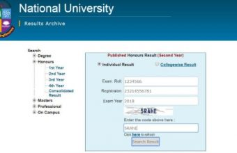 National University Honors 3rd Year Result 2019